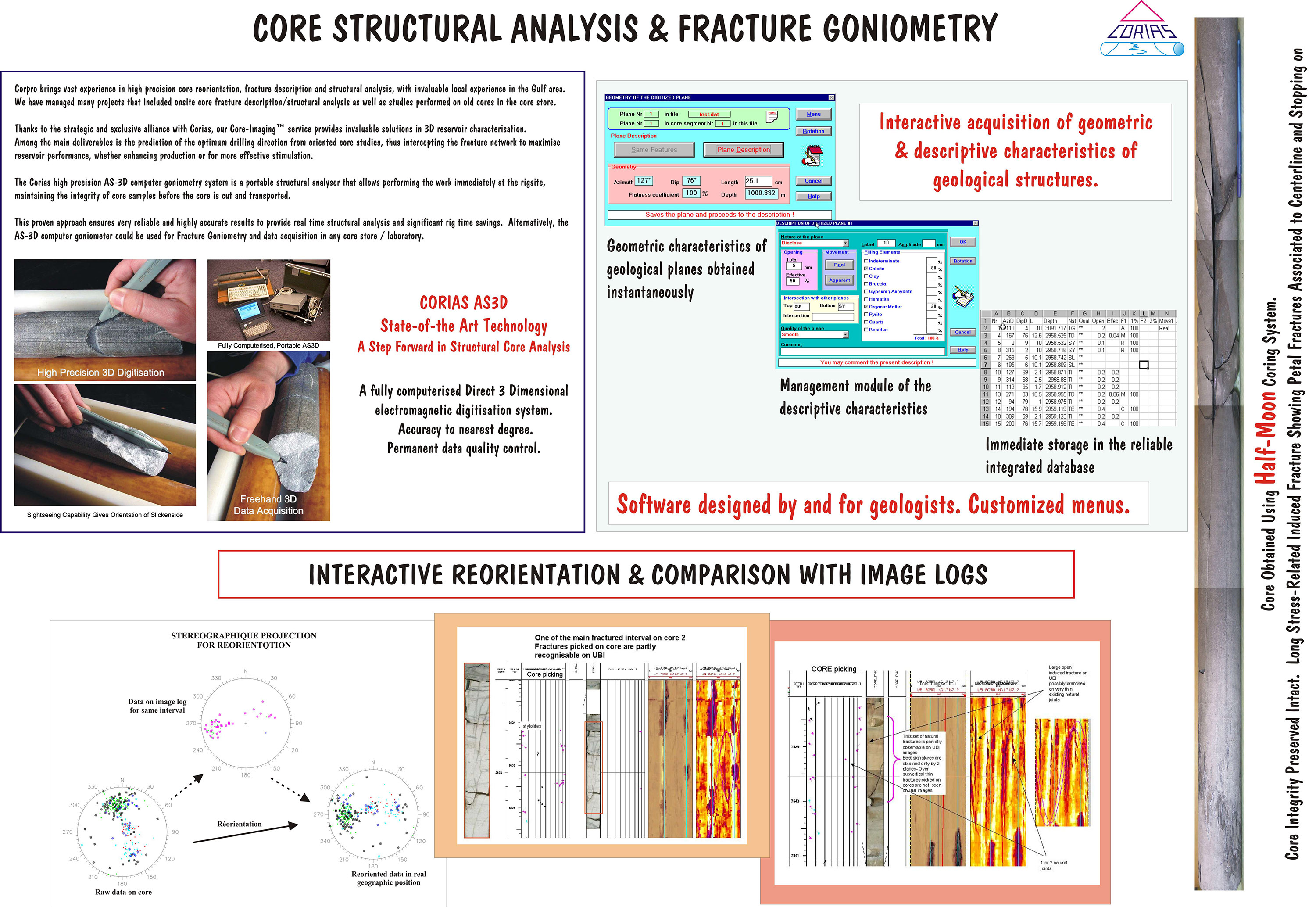 Corias Core structural analysis and fracture goniometry